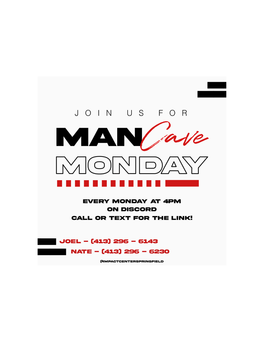 """""""Man Cave Monday"""" Virtual Group for Young Adults (ages 16-22) - Hosted by the Impact Center"""