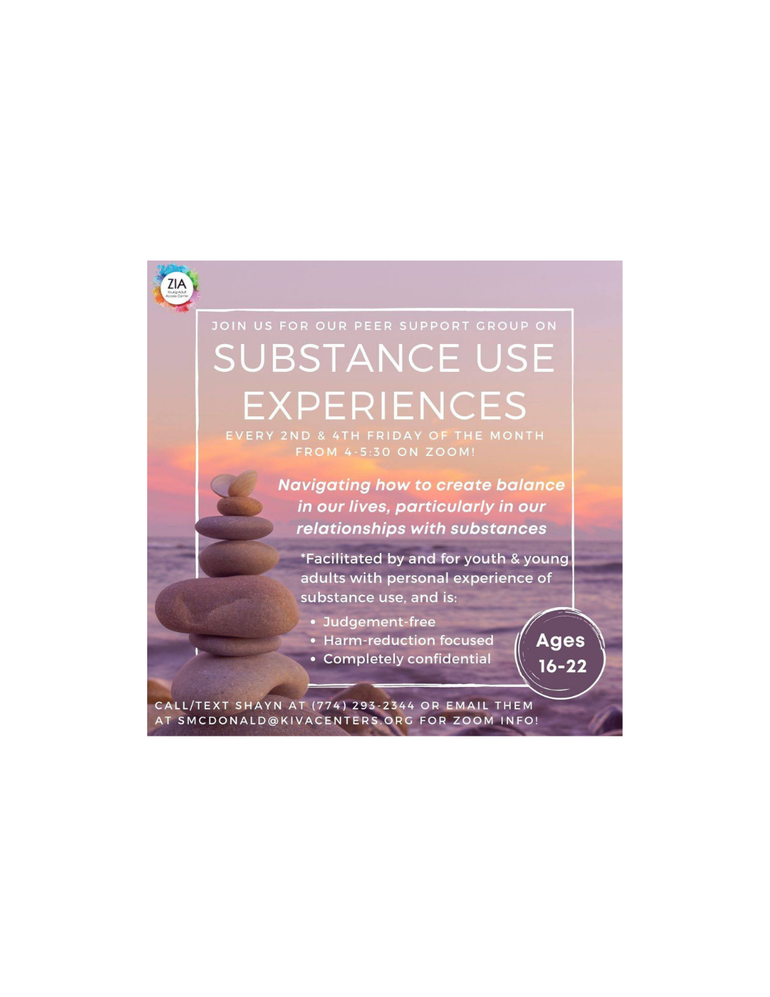 Substance Use Experiences: Virtual Peer Support Group - Hosted by Zia Young Adult Access Center