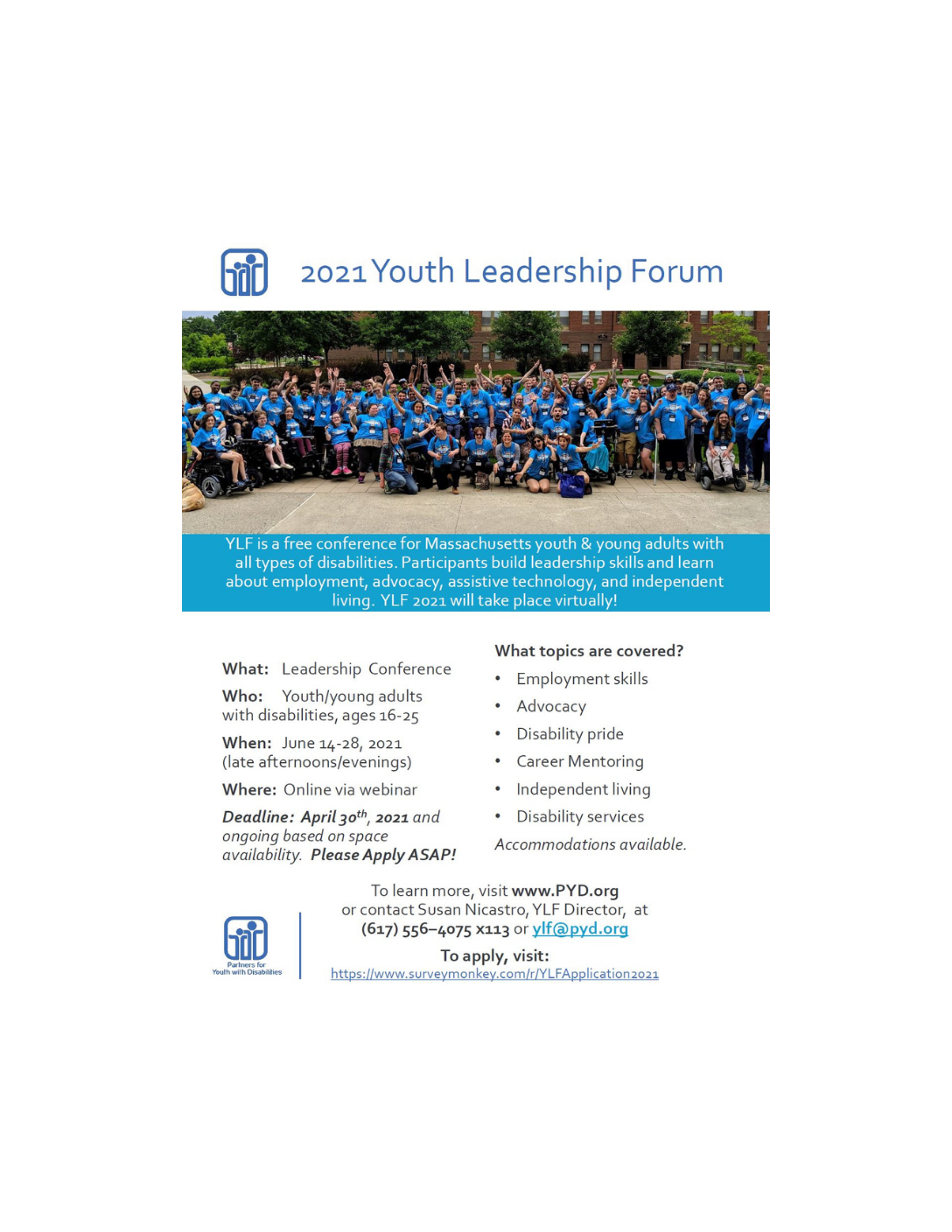 Partners for Youth with Disabilities (PYD): 2021 Massachusetts Leadership Forum!
