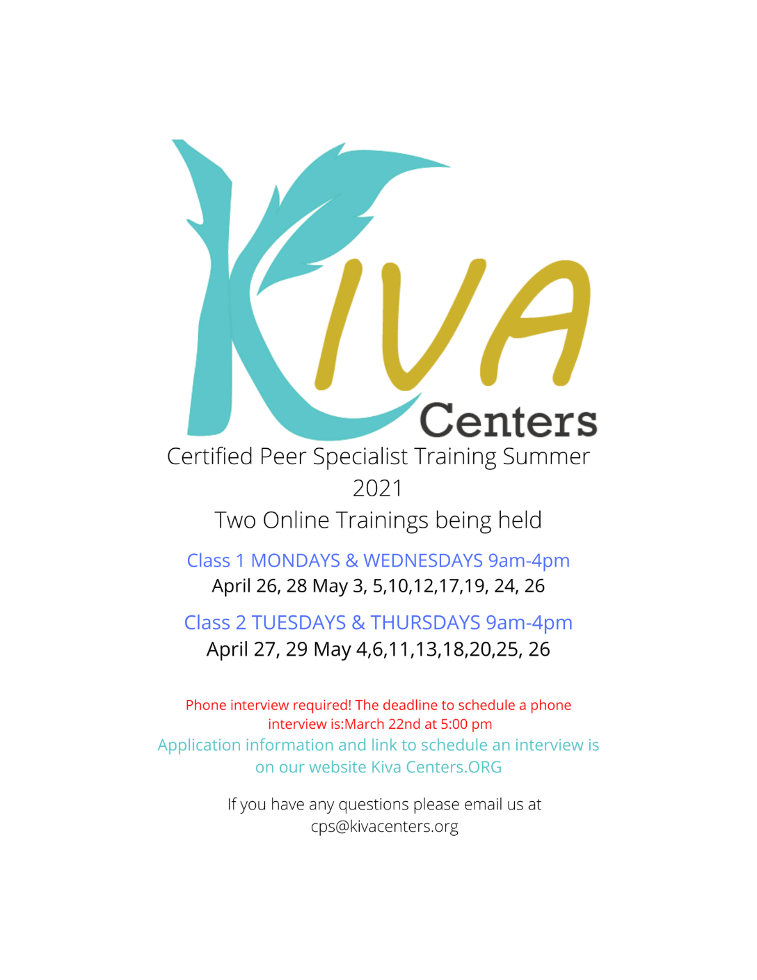 Apply To Be A Certified Peer Specialist (CPS) in MA! Spring 2021 Virtual Trainings Hosted by Kiva Centers
