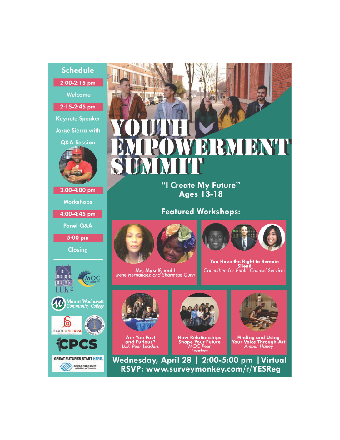 """Youth Empowerment Summit: """"I Create My Future"""" (Ages 13-18) - Virtual Event on April 28, 2021!"""