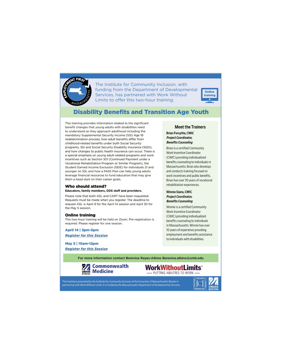 Disability Benefits and Transitional Age Youth: 2-Hour Virtual Trainings