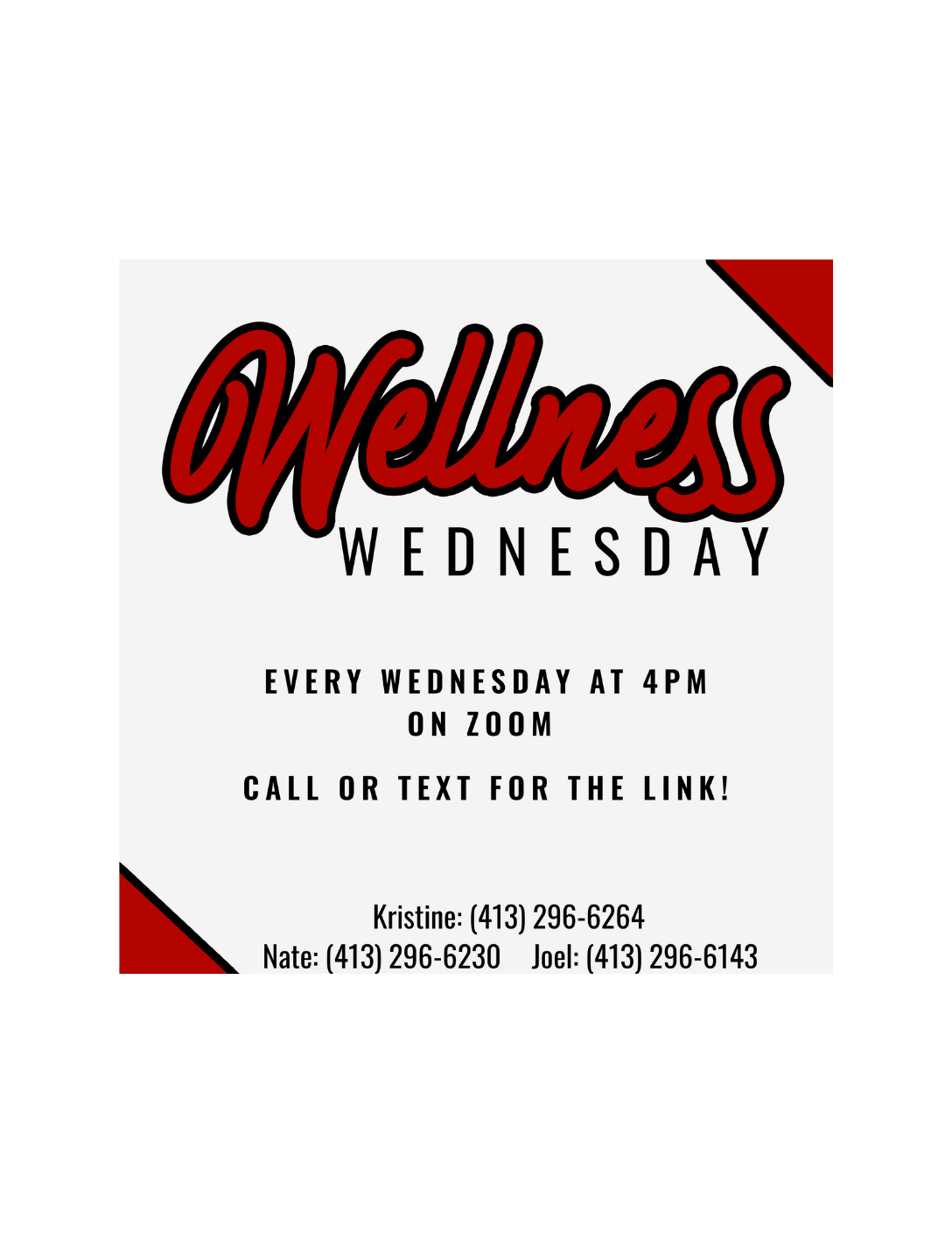 Wellness Wednesday Flyer hosted by the Impact Center